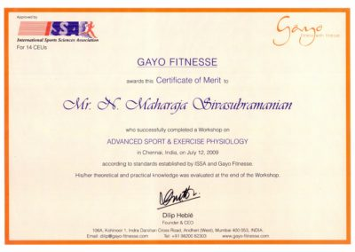 Advanced sport and exercise physiology, Certificate of Merit from Gayo Fitnesse.