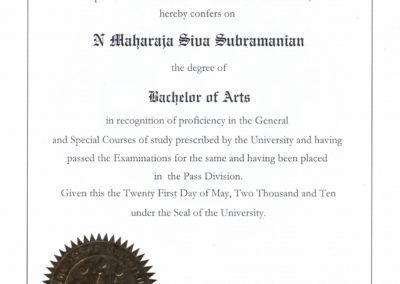 Bachelor of Arts. The Institute of Chartered Financial Analyst of India University, Tripura.