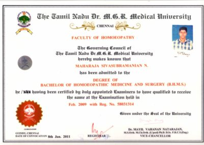 My Bachelor of Homoeopathic Medicine and Surgery Convocation certificate Dr Maharaja SivaSubramanian N