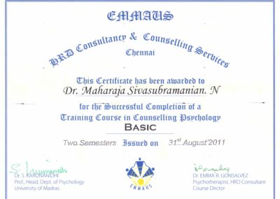 Completion certificate Basic course in Counselling Psychology from EMMAUS HRD consultancy and Counselling services.