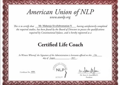 Certified Life Coach - certification from American Union of NLP