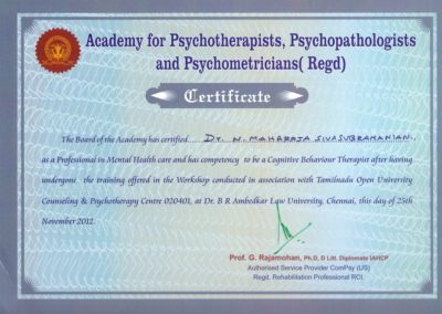 My certification from Academy for Psychotherapist, Psychopathologists, and Psychometricians.