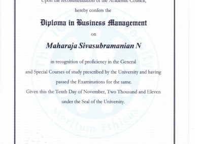 My certificate - Diploma in Business Management - from The Institute of Chartered Financial Analysts of India University, Tripura.