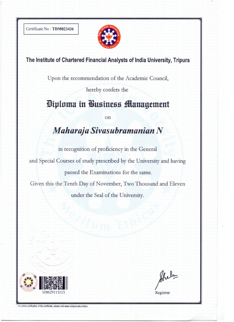 My certificate - Diploma in Business Management. | Dr Maharaja ...