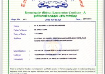 My registration certificate - Tamil Nadu Homoeopathy Medical Council.