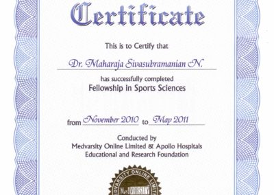 My certificate - Fellowship in Sports Sciences by Medvarsity online limited and Apollo Hospitals Education and Research Foundation.