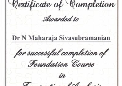 My certificate of completion - Foundation course in Transactional Analysis.