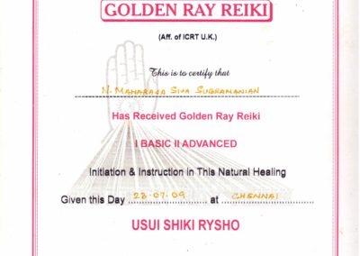 My certificate - Golden Ray Reiki.