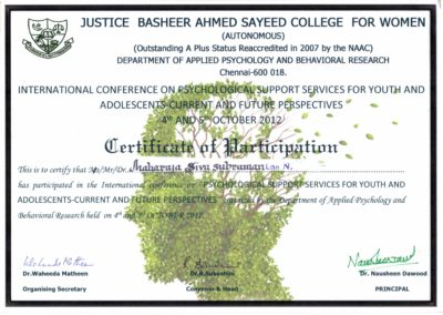 My certificate of participation - International conference on Psychological support services for youth and adolescents - Current and Future Perspectives.