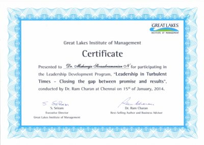 My certificate of participation - Leadership development program - Leadership in turbulent times - Closing the gap between promise and results - by Dr. Ram Charan - organized by Great Lakes Institute of Management.