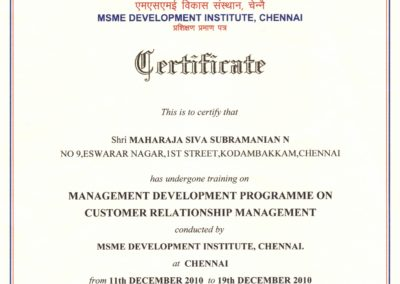 My certificate of participation of having undergone training on Management Development Programme on Customer Relationship Management.