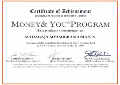 My certificate of completion - Money and You program.
