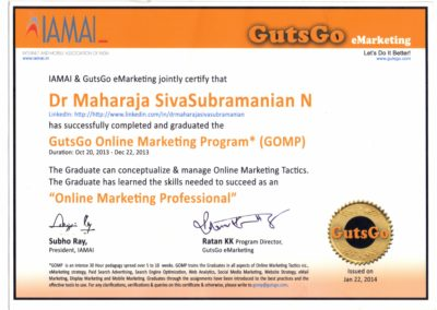 My certification of Online marketing professional - from GutsGo Online Marketing Program.