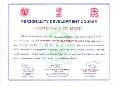 My certificate of merit - Personality development course.