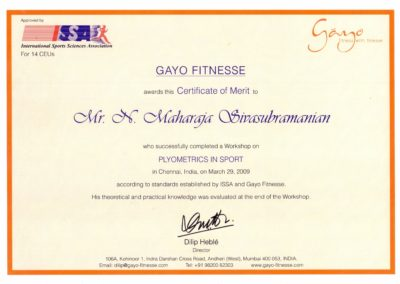 Certificate of merit - Plyometrics in sport - from Gayo Fitnesse.