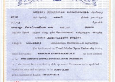 My certificate - Post graduate diploma in psychological counselling from Tamil Nadu Open University