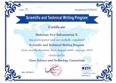 Scientific and Technical writing program certificate from Nano Science and technology consortium.