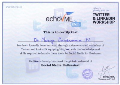 Social Media Enthusiast, Twitter and LinkedIN workshop from Echovme.